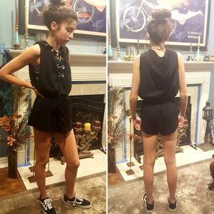 Women's black knit romper